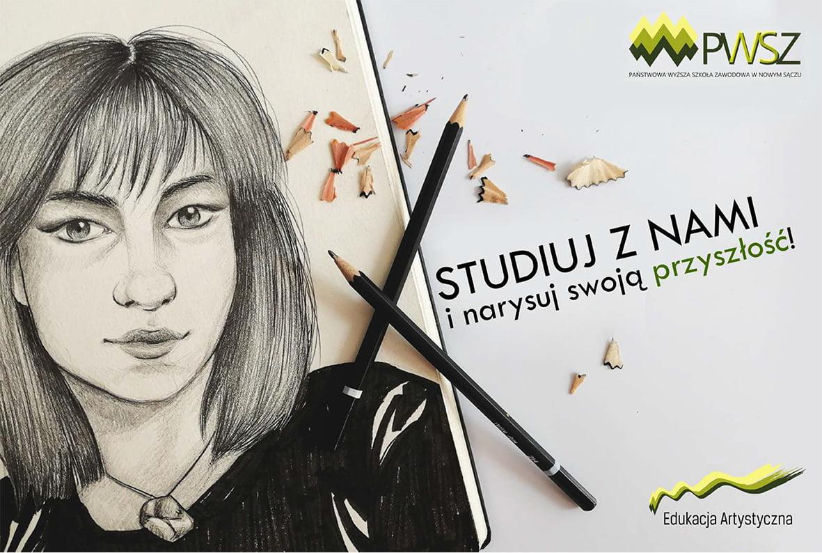 Grafika przedstawia kobietę oraz dwa ołówki z napisem studiuj z nami i narysuj swoją przyszłość