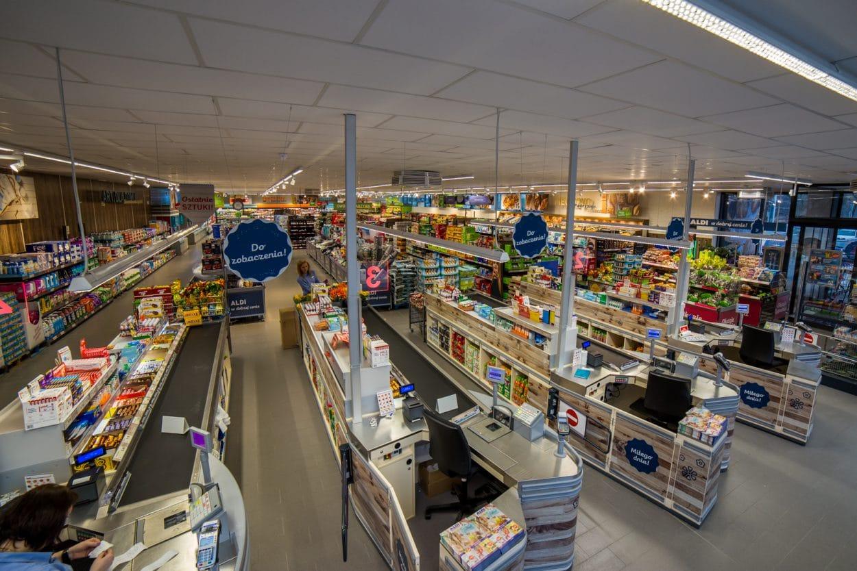 Aldi, wnętrze sklepu